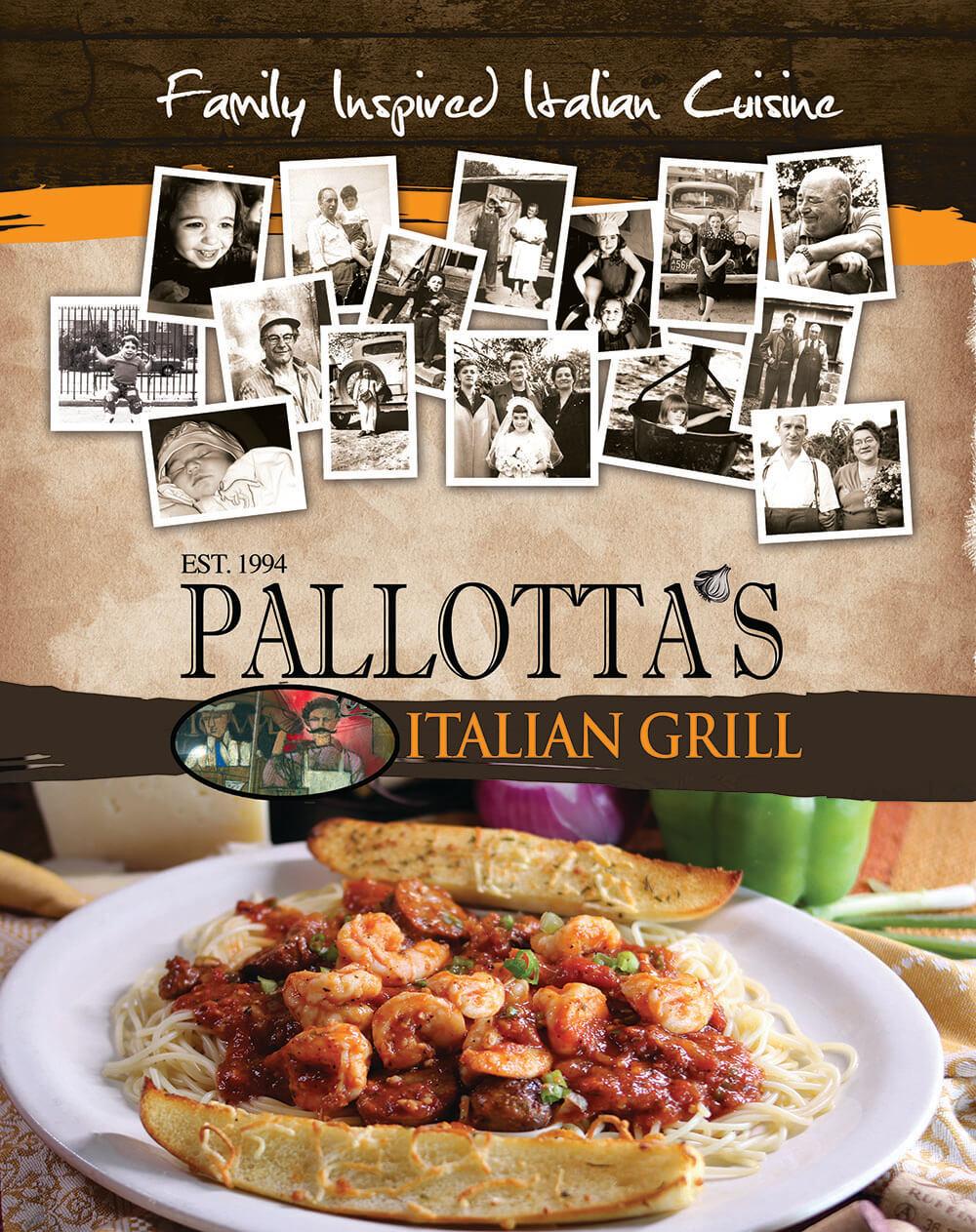 pallotta's Italian grill menu cover
