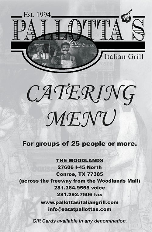 Pallotta's catering menu cover