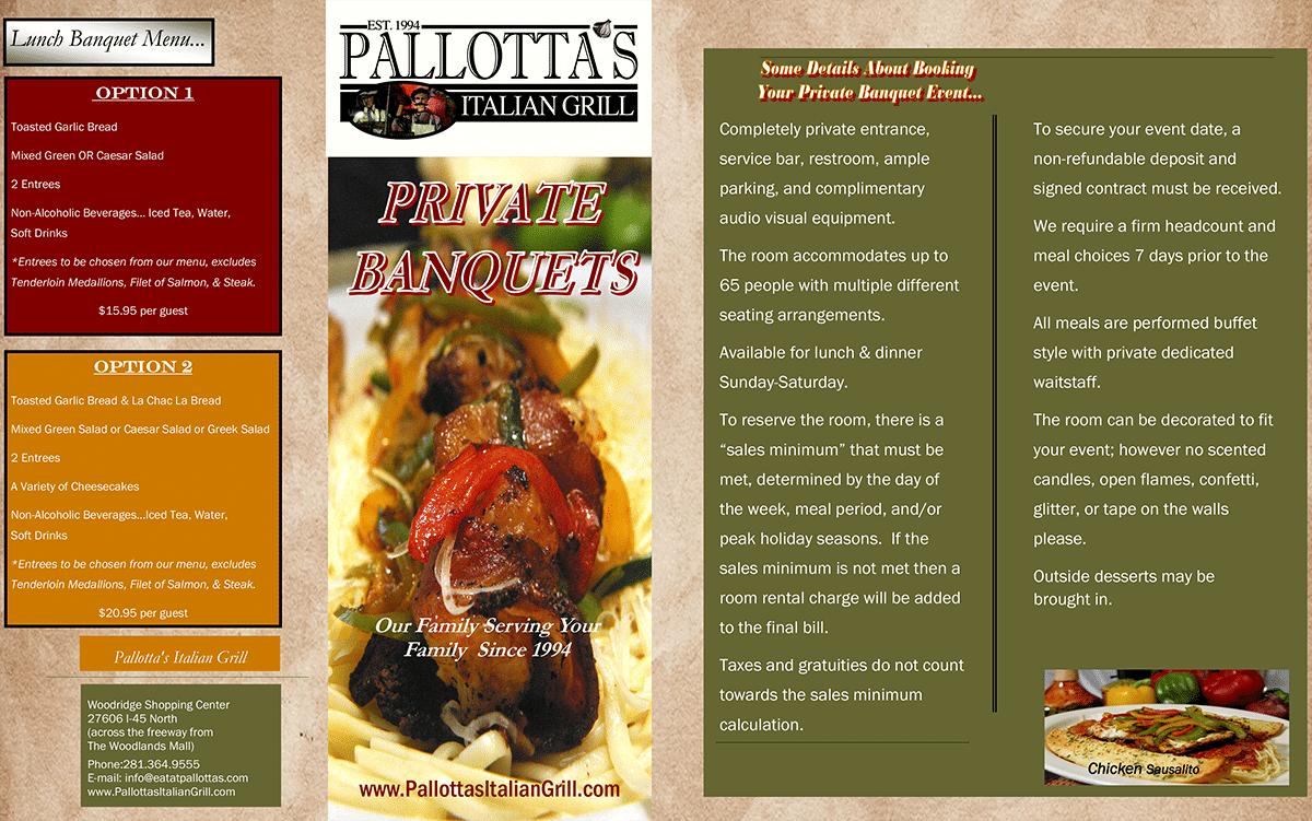 Pallotta's banquet menu